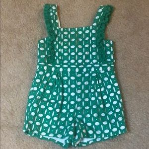 Janie and Jack Green Eyelet Romper
